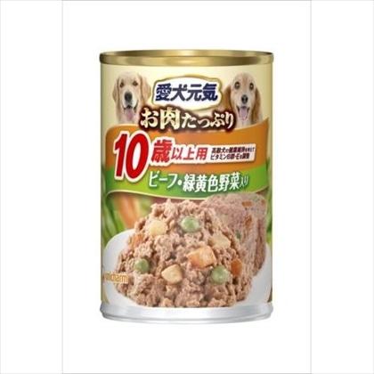 愛犬元気 缶 10歳からの長寿犬用 ビーフ&緑黄色野菜入り 375g