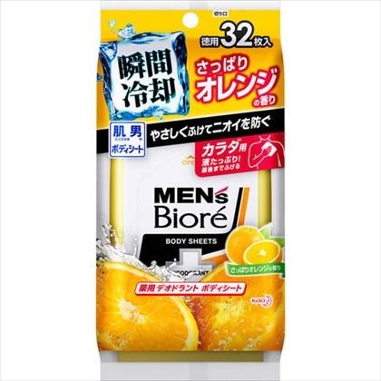 メンズビオレ 薬用デオドラントボディシート さっぱりオレンジの香り 32枚入[医薬部外品]