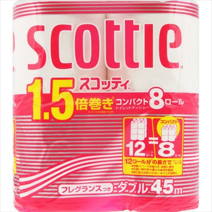 スコッティ トイレットロール 1.5倍巻き 8ロール ダブル 45m(香りつき)