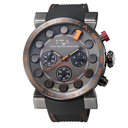 I.T.A.Gran Premio(グランプレミオ)ブラック・1インデックスオレンジ・ブラックラバーストラップ