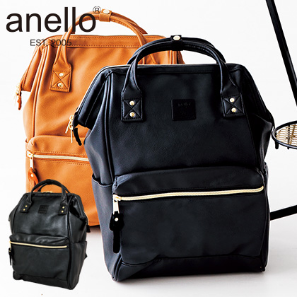 [anello(R)(アネロ)] 合皮口金リュック ブラック