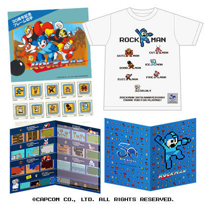 「ロックマン」 30周年記念フレーム切手セット (TシャツLサイズ、白)