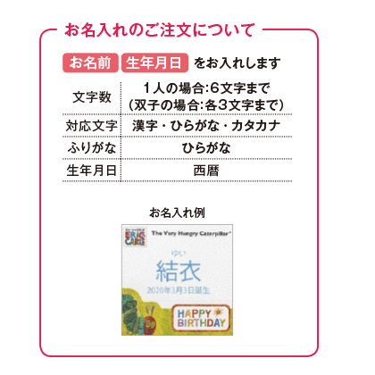 はらぺこあおむしキッチン洗剤タオルセットC(お名入れ) 写真入りメッセージカード(有料)込