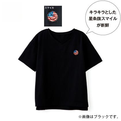 ワッペン付き半袖Tシャツ(ホワイト スマイル)