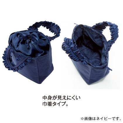 〈カシェリエ〉フリルハンドルキャンバストートバッグS(ブラック)