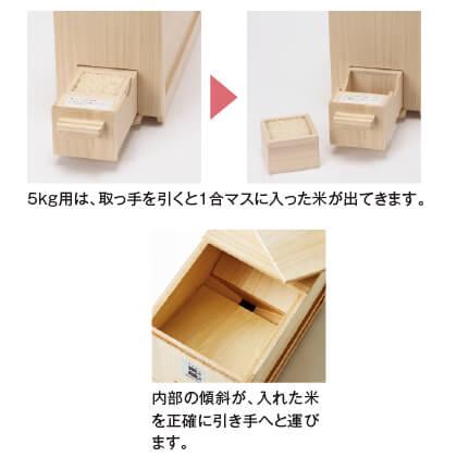 〈竹本木箱店〉総桐計量米びつ(5kg用)