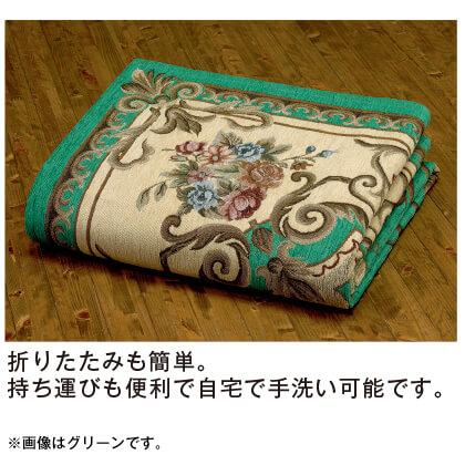 イタリア製ジャカード織カーペット・マット(ベージュ系/85×150cm)