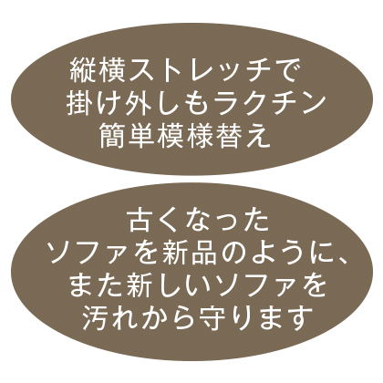 イタリア製フィットソファカバー「エレガンテ」(アーム付)アイボリー (2人掛用)