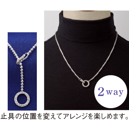 K18WG 3ctダイヤモンドチェーンデザインネックレス(ラウンド)