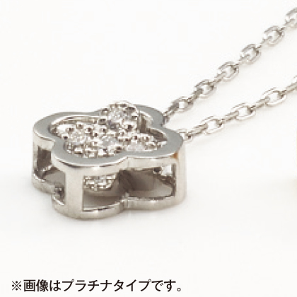 K18ダイヤモンド入スウィングフラワーペンダント(45cm)