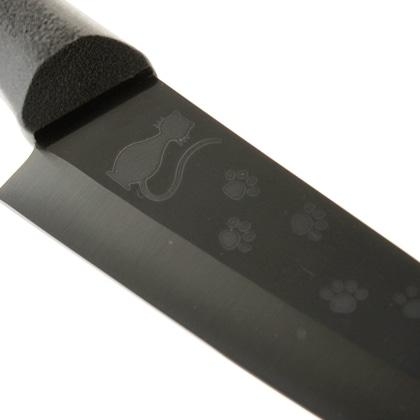 彫刻黒セラミック包丁150�o ネコ