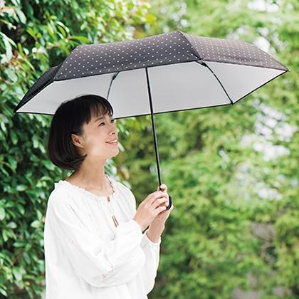 [エスタ] ドットプリント晴雨兼用傘 ブラック