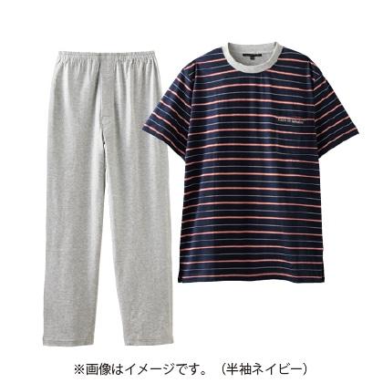 紳士天竺半袖丸首パジャマ 杢グレー L