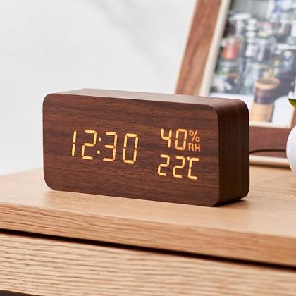 <アイリスオーヤマ>デジタル置時計多機能タイプ(ブラウン)