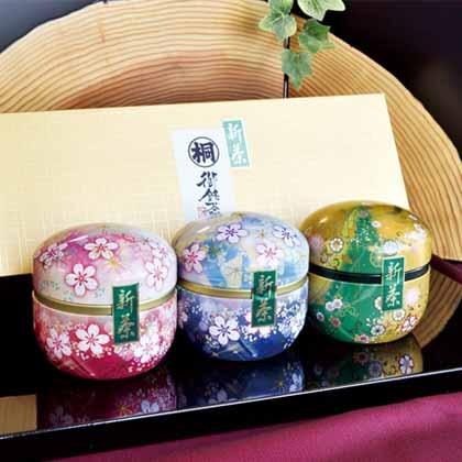 葉桐 鈴子缶静岡丸子新茶3個セット