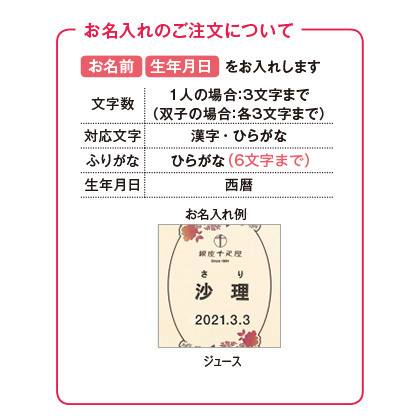 銀座千疋屋 銀座ストレートジュース(お名入れ)【出産内祝い用】