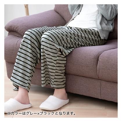 毛布のような裏起毛下だけパジャマ(グレー×ブラック LL〜3L)