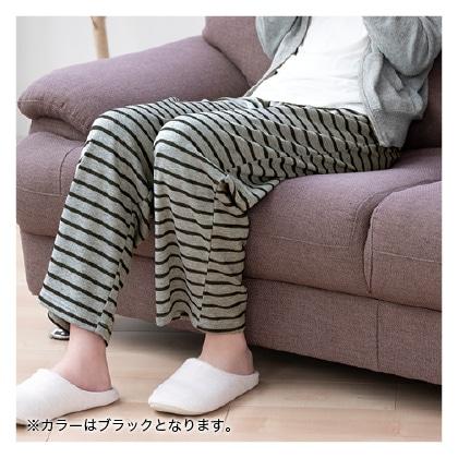 毛布のような裏起毛下だけパジャマ(ブラック LL〜3L)