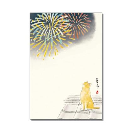絵入りはがき2021夏柄 花火とねこ4枚セット