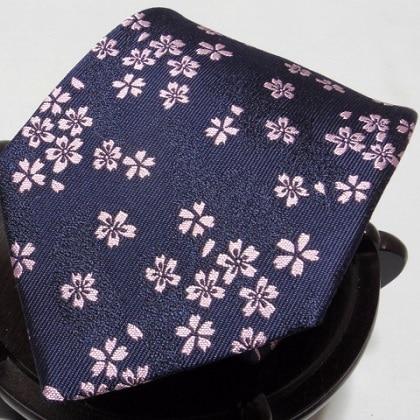 桜花ネクタイ 紺