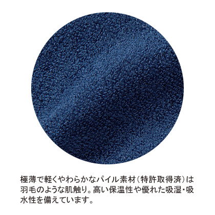 [内野]さっと羽織れるレディースローブ ダークブルー S