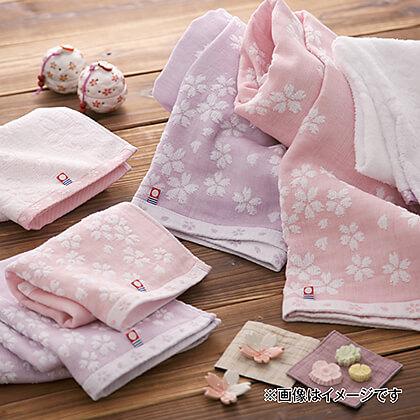 桜おり布 フェイス・ウォッシュタオルセットS A (ピンク)
