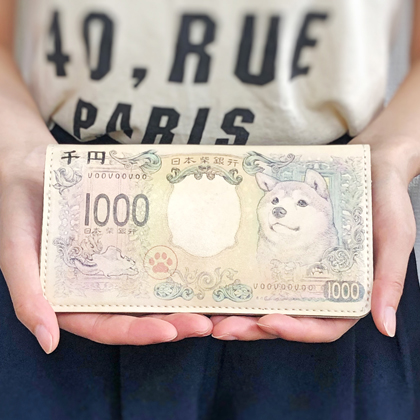 新千円札(柴犬)合皮財布