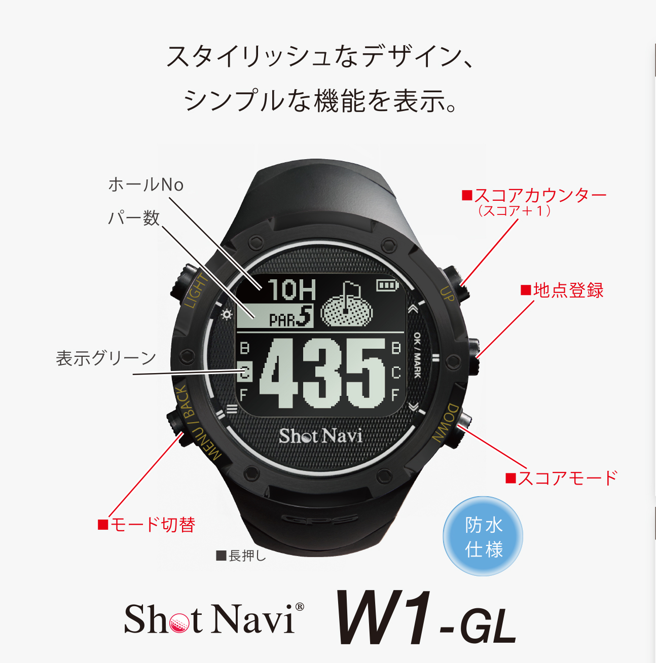 GPSゴルフナビ ShotNavi W1-GL ブラック