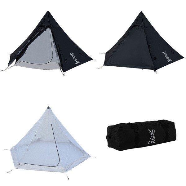 DOD ワンポールテントS ブラック T3-44-BK テント ファミリーテント キャンプ アウトドア 用品