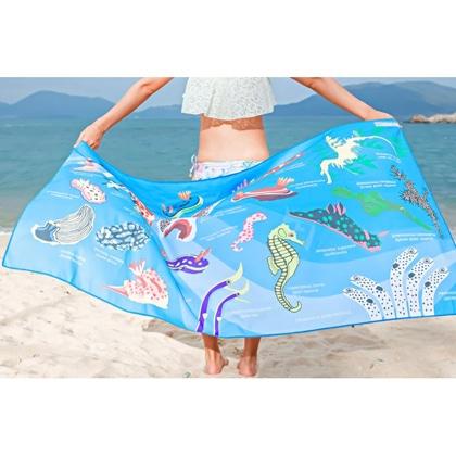 【OCEANARIUM】ドライタオル T09 skyblue nudibranches identification dry towel 80cm x 140cm