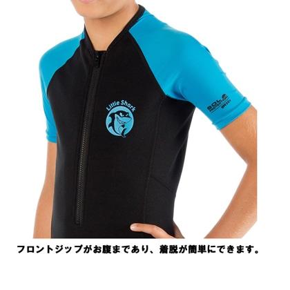 【クレッシーサブ】リトルシャークショーティ CRESSI LITTLE SHARK SHORTY キッズスーツスプリング BK/BL 9〜10