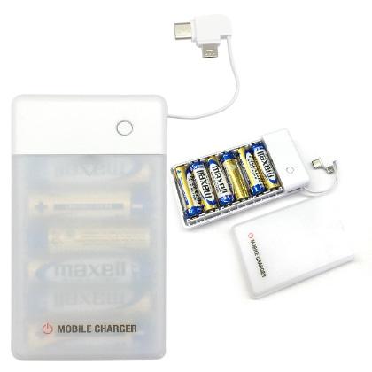 マルチコネクタケーブル(Type-C/microUSB)付乾電池式急速充電器[BJ-USB6A BK]