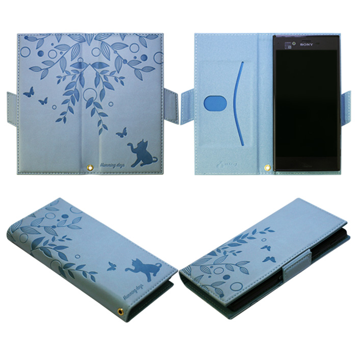 マルチタイプキャットシルエット手帳型ケース ブルー[AC-LAM2-CAT BL]