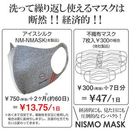 【お得な5枚セット】nismo 冷感アイスシルクマスク グレー [NM-NMASK GY]