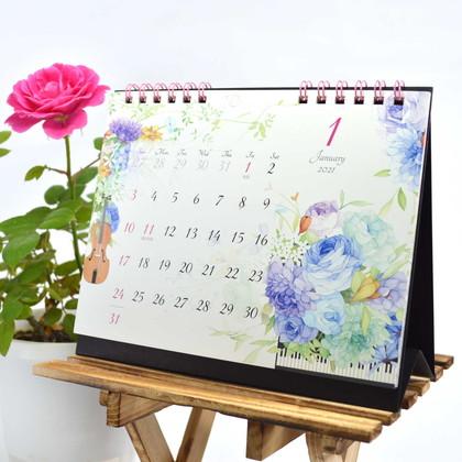 CAL−30 2021版カレンダー卓上1ヵ月 モダンフラワー S