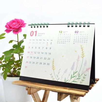 CAL−31 2021版カレンダー卓上1ヵ月 シンプルフラワー S