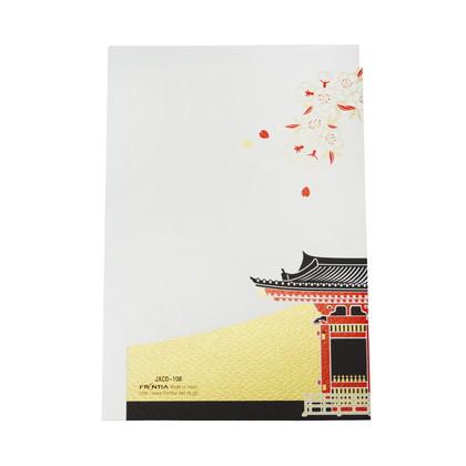 JXCD−108和風シルク印刷カード 富士山と雷門