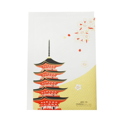 JXCD−110和風シルク印刷カード 富士山と五重塔