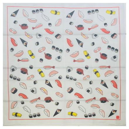 HKC−003木綿はんかち 寿司イラスト