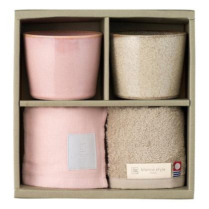 くつろぎペアカップ&タオル ピンク