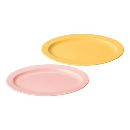 作山窯 ペアオーバル皿 ピンク&イエロー