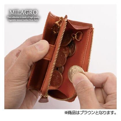 ミラグロ タンポナートレザー キー&コインケース(ブラウン)