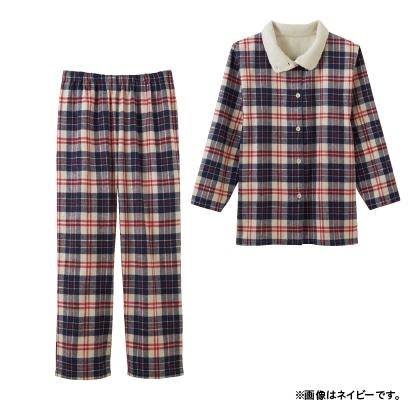 暖かボア付 綿100% パジャマ【女性用】(グリーン系LL)