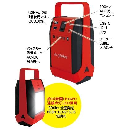 〈富士倉〉ソーラーパネル付80Wモバイルバッテリー