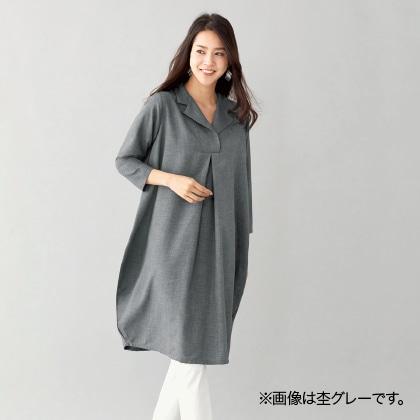 テーラー衿ゆったりシャツワンピース(杢ネイビー LL)