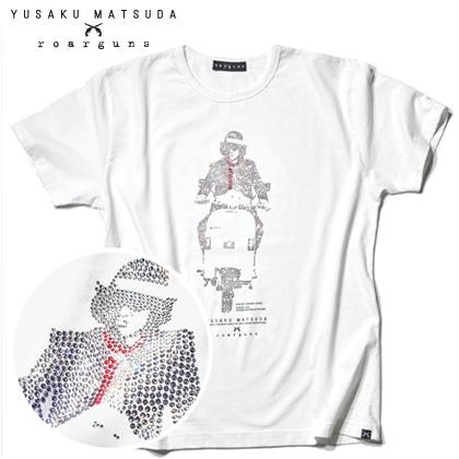 松田優作 生誕70周年記念「探偵物語」プレミアムフレーム切手セット YUSAKU MATSUDA×roarguns コラボTシャツ(白) スワロフスキースペシャルバージョン/M