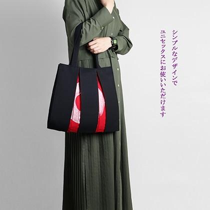 KOSHO ougi 帆布 トートバッグ madoka M 墨色/紅色・銀 (ブラック/レッド・シルバー)