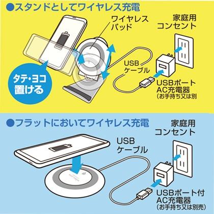 置き方3通りのワイヤレス充電スタンド ブラック[AWJ-PD4 BK]