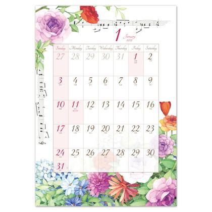 CAL−15 2021版カレンダーモダンフラワー L