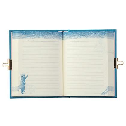 日記 鍵付 扉 動物柄 青